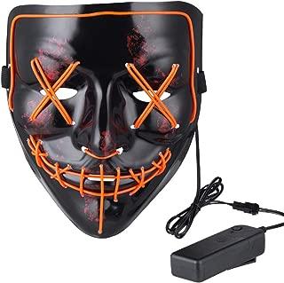 Anroll Halloween Mask LED Light Up Mask for Festival Cosplay Halloween Costume