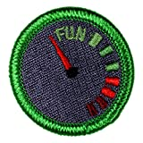 Fun Meter Novelty Merit Badge- 1.5' Embroidered Patch with Adhesive Backing