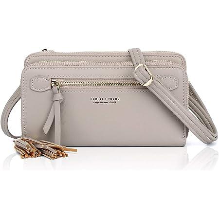 YOVIEE Damen Umhängetasche Kleine Handy Schultertasche Mädchen Frauen Crossbody Phone Bag Taschen PU-Leder RFID-Schutz Elegante und minimalistische(N008GRAY)