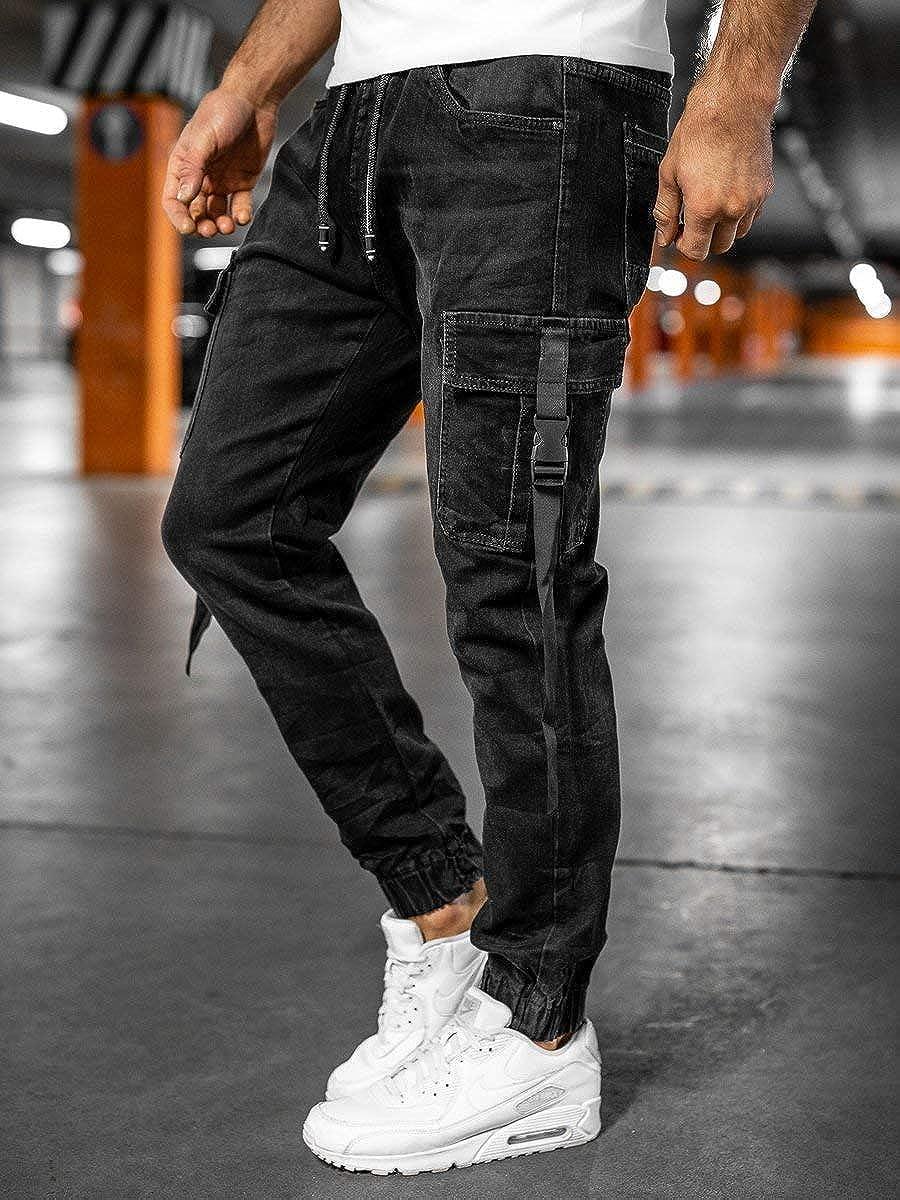 BOLF Homme Pantalon Jeans Jogger Denim Style Jogging Look us/é Jambe /étroite D/étruit Taille Ajustable Slim Fit Casual Style Mix 6F6