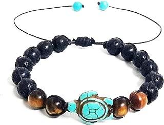 Tiger Eye - Lava Stone Beads Sea Turtle Turquoise Bracelet Turtle Hemp Hawaiian Sea Bracelet