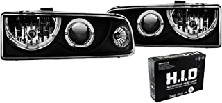Winjet Headlights Compatible With 1998-2005 Chevrolet Blazer CK | PC Resin Black Clear Front Head Lights Lamps | 1999 2000 2001 2002 2003