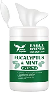 Texas Ragtime Eagle Wipes Essentials EM Eucalyptus Mint Wet Wipes 75 Count Canister Naturally Cleans and Deodorizes Gym & ...