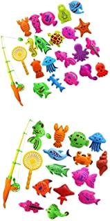 MagiDeal 2 set of 27Pcs Baby Time Magnetic Fishing Bath Toy Vivid Fish Model Set Kids Fish Toy Early Developmental