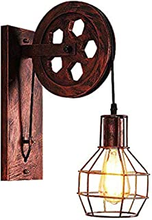 Bowrain 1 Light Fixture Industrial Mid Century Retro Iron Wall Lights Lift Pulley Wall Lamp Features The Matte Iron Cage Lamp Shade for Indoor Lighting Barn Restaurant (Rust Color)