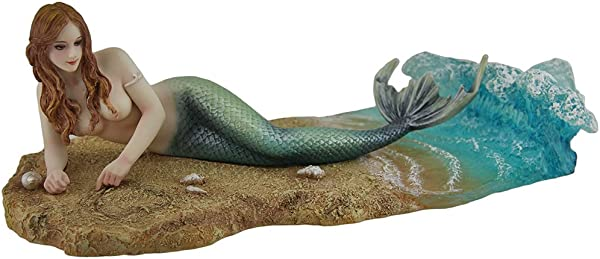 Zeckos Veronese Resin Statues Waiting By Selina Fenech Mermaid Laying On The Beach Statue 10 25 X 3 5 X 4 5 Inches Multicolored