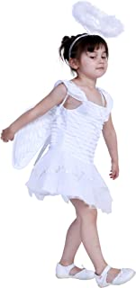 EraSpooky Girl's Angel Dress Halloween Kids Funny Costume Toddler with Halo Wing