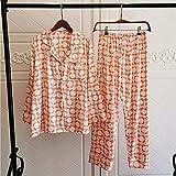 STJDM Bata de Noche,Conjuntos de Pijamas de Seda de Hielo para Mujer Pantalones de Manga Larga Elegantes de Corea Ropa de Dormir Pijamas de Mujer L45-55kg OrangePetalsB