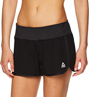 Reebok Women's Running Shorts,  Relaxed Fit and Mid-Rise Waist Training Shorts w/ Liner - 3 1/4 Inch Inseam