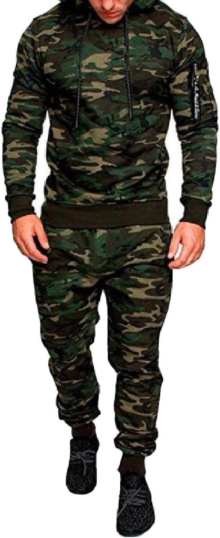 SweatwaterCA Men's Trousers Fitness Outdoor Sweatshirt Camo Sports Tracksuit Set