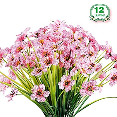 JEMONG 12 Bundles Artificial Flowers Outdoor UV Resistant Fake Flowers No Fade Faux Plastic Plants Garden Porch Window Box Decorating (Pink)