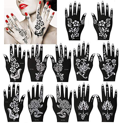 Konsait Pack Of 12 Sheets Henna Tattoo Stencil Templates Henna Hand Temporary Tattoo Kit, Indian Arabian Self Adhesive Tattoo Sticker for Hand Body Art Paint for Adults Women Teenager Girls