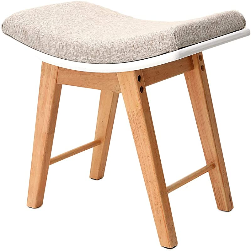 IWELL Vanity Stool With Rubberwood Legs Makeup Bench Dressing Stool Padded Cushioned Chair Piano Seat Capacity 286lb SZD001M Natural