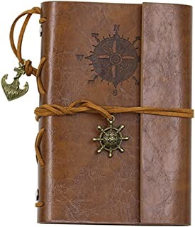 ZAONE Retro Anchor Faux Leather Cover Journal Vintage Handmade Refillable Traveler's Notebook Daily Notepad Blank String, Great gift for Men Women Students (Brown)