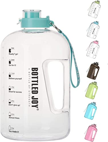 BOTTLED JOY 1 Gallon Water Bottle, BPA Free Large Water Bottle Hydration with Motivational Time Marker Reminder Leak-...