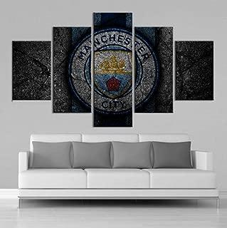 sasdasld 5 Pieces Premier League Manchester City Posters Football Canvas Paintings Wall Art Prints Boys Sports Wall Decor Frame-10CMx15/20/25CM