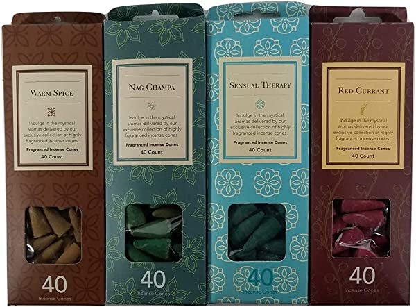 Backwoos Lighting LLC Warm Spice Nag Champa Red Currant Sensual Therapy Flora Classique Incense Cones 40 Ea 120 Incense Cones In 4 Boxes Great Sample Veriety Pack