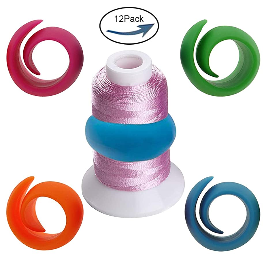 12pcs Thread Spool Huggers -Reusable Prevent Thread Tails from Unwinding - for Sewing and Embroidery eliminating The Thread Tail Problem.Keeps Thread Holder Nice.