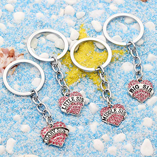 4pcs Women Girl Gift Big Middle Little Baby Sister Love Heart Pendant Key Chain Ring Set Family Jewelry (4pcs Pink B/M/L/B Sister Key Chains) Photo #5