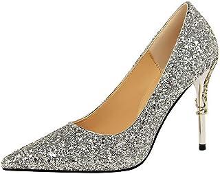 BalaMasa Womens APL12214 Fashion Comfort Dance-Ballroom Silver Pu Heeled Sandals - 4.5 UK (Lable:38)