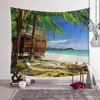 熱帯ヤシの木の葉タペストリー壁掛けシーサイド日没風景のタペストリーヨガビーチタオル/マットボヘミアンインテリアのための家 (Color : No 7, Size : XS(95cmx73cm))