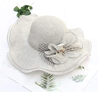 SHENTIANWEI 2019 Summer New Wave Edge Cotton Ms. Beach hat Korean Flower Large Brimmed Sun hat Sun hat (Color : Grey, Size : Adjustable)
