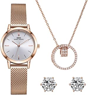 Women Watch Sets Quartz Wrist Watches with Rose Gold Earring and Necklace 3 Sets for Christmas Valentine's Day Gifts