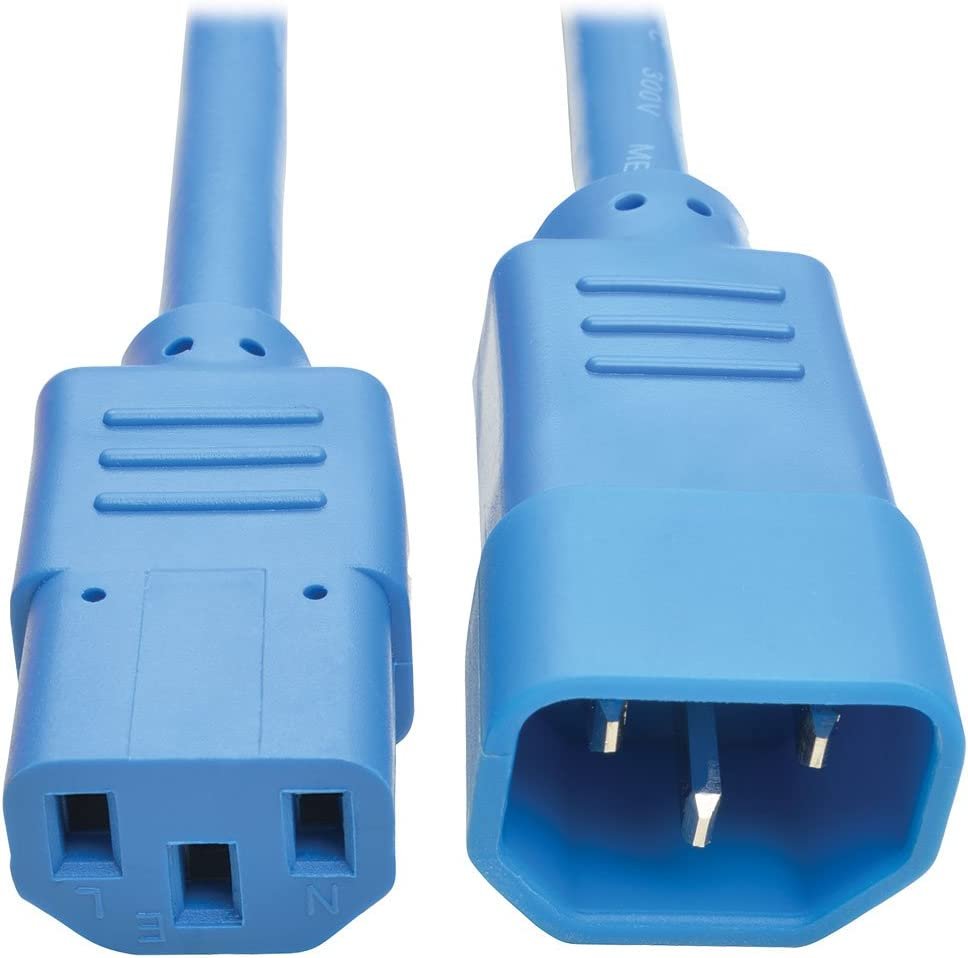 Tripp Lite 2 ft. Heavy Duty Power Extension Cord, C14 to C13, 15A, 14 AWG, Blue (P005-002-ABL)