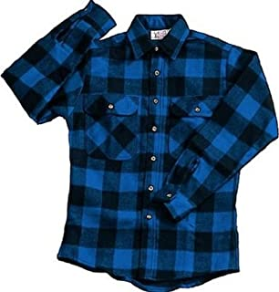 Extra Heavyweight Brawny Plaid Flannel Shirt (Blue)