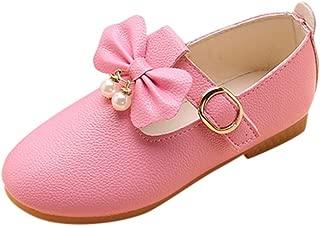 YanHoo Zapatos para niñas pequeñas Las niñas de los niños de Color sólido Arco Colgante Zapatos Solos Zapatos de Princesa Niñas Sólido Bowknot de Cuero Princesa Princesa Zapatos Ocasionales únicos