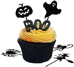 Amosfun 72 Piezas Torta de Halloween Toppers Calabaza Cupcake Recoge Spider Frutas Selecciones para el Partido de Halloween Decoraciones del Partido Suministros