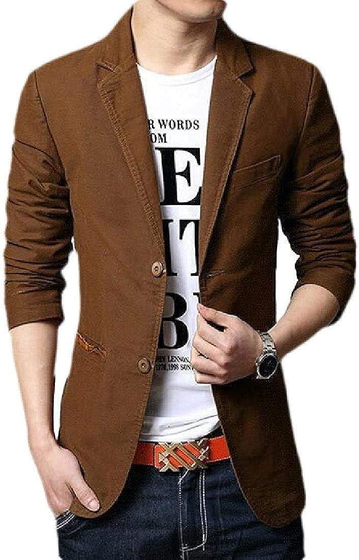 Men Casual Slim Cotton Two Button Notch Lapel Blazer Jacket Sport Coat
