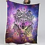 Mantas para Cabeza de Lobo de Personalidad Bohemia Mantas Franela Fácil De Limpiar - Extra Suave Cálido 150 * 200cm