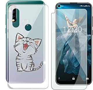 Oukitel C17 Pro Case + Tempered Glass Screen Protector - HHUAN Flexible Soft Semi-Transparent TPU Fever cat Shell Silicone Gel Protective Case Bumper Cover for Oukitel C17 Pro (6.35