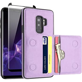 LakiBeibi Galaxy S9 Plus Case with Card Holders, Dual Layer Lightweight Slim Leather Wallet Card Slot Flip Magnetic Lock with Screen Protector for Samsung Galaxy S9 Plus 6.2 Inch (2018), Purple