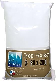 Nuit des Vosges 2094497 Cotoval Drap Housse Uni Coton Blanc 80 x 200 cm