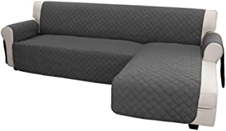 Best Easy-Going Sofa Slipcover L Shape Sofa Cover Sectional Couch Cover Chaise Lounge Cover Reversible Sofa Cover Furniture Protector Cover for Pets Kids Children Dog Cat (X-Large, Dark Gray/Dark Gray) Review