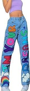 Women Fashion Skateboard Pants Letter Printing Straight Leg Jeans Breathable Quick Dry Trousers Hip Hop Denim Pants