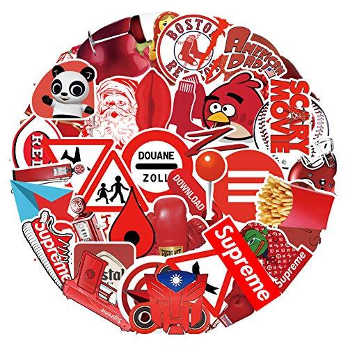 YZFCL Personalidad roja Doodle Pegatina Maleta Guitarra portátil teléfono Taza de Agua Impermeable decoración Pegatina 100 Piezas