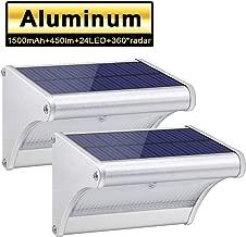 24 LED Solar Lights Aluminum Alloy Housing IP65 Waterproof Outdoor Solar Lights 360°Radar Motion Sensor Security Wall Lights for Step, Garden, Yard, Fence, Deck(2 Pack)