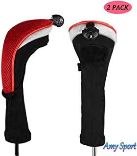 Amy Sport Golf Club Head Covers Woods Value 2 Pack Driver Fairway Hybrid, Long Neck 1 3 5 7 X Thick Neoprene Protective with Interchangeable No.Tags, Fit Men Women All Clubs