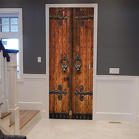 Amazon Com Colorspring 3d Classic Old Wooden Door Door Decal Door Stickers Decor Door Mural Removable Vinyl Door Wall Mural Door Wallpaper For Home Decor Mt 033 Tools Home Improvement