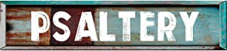 "Psaltery 8"" Teal Rectangle Weathered Painted Metal Rustic Look Decal Bumper Sticker for use on Any Smooth Surface"