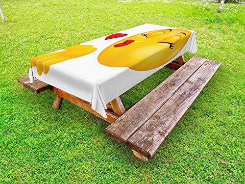 ABAKUHAUS Emoji Tafelkleed voor Buitengebruik, Smile Gezicht Blazende Kussen, Decoratief Wasbaar Tafelkleed voor Picknicktafel, 58 x 120 cm, Veelkleurig