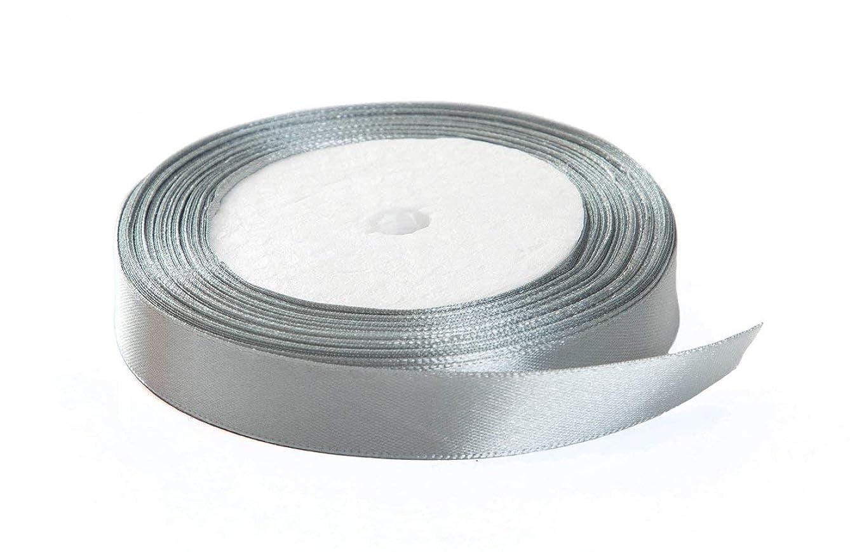 Solid Color Satin Ribbon, Kissbuty 1/2 Inch 25 Yards Gift Wrapping Ribbons Single-Sided Fabric Ribbon Embellish Ribbon Silk Ribbon Roll for Bows Crafts Gifts Party Wedding (Light Gray)