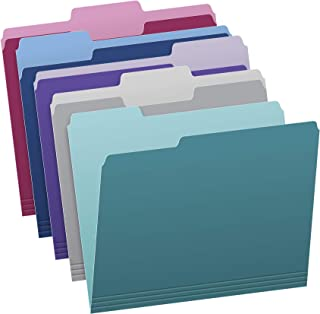 Pendaflex Two Tone Color File Folders, Letter Size, Assorted Colors (Teal, Violet, Gray, Navy and Burgundy), 1/3-Cut Tabs,...