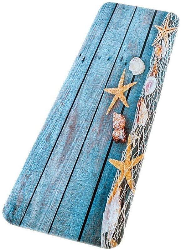 ROCOSYTR Kitchen Rug Runner Doormat Retro Blue Wood Flooring Fishing Net Conch Shells Starfish Nautical Theme Absorbent Flannel Non Slip Decorative Bath Mats Rugs Carpet 16 X47