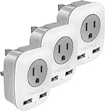 [3-Pack] UK Ireland Travel Plug Adapter, VINTAR International Power Adaptor with 2 USB, 4 in 1 Outlet Adaptor for USA to British England Scotland Irish London Hong Kong (Type G)