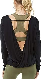 Women's Long Sleeve Open Back Shirts Loose Backless Yoga Shirts Thumbhole Shirts