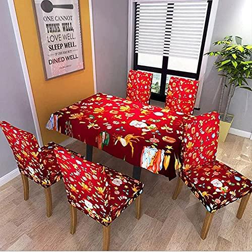 POUAOK Fundas para sillas navideñas,Mantel de Navidad Cubierta de Silla de Licra Comedor Fundas de Silla elásticas Fundas de Silla de Boda Funda de patrón Impreso Hotel(Size:140 * 180cm)